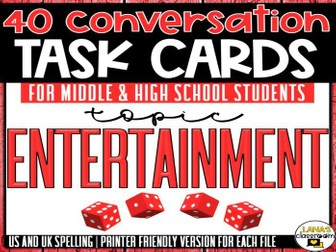 Conversation Starter Cards | Entertainment | Social Skills for Middle&High
