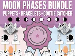 Moon Phases Stick Puppets, Bracelets and Cootie Catchers BUNDLE
