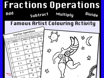 Add, Subtract, Multiply and Divide Fractions -  Colour by Number Activity