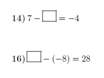 Adding and subtracting positive and negative numbers: missing numbers worksheet no 2 (with answers)