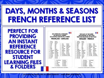 FRENCH DAYS MONTHS SEASONS REFERENCE MAT