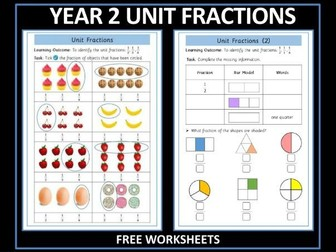 Fractions - Year 2 - Free Worksheets - Unit Fractions
