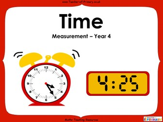 Time - Year 4 - Animated PowerPoint lesson and Worksheets