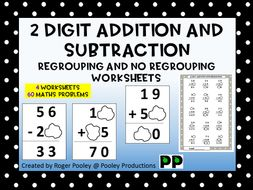 2 Digit Addition and Subtraction Regrouping and no Regrouping ...