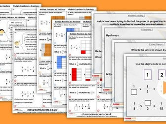 Year 6 Multiply Fractions by Fractions Autumn Block 3 Step 11 Lesson Pack
