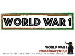 World War 1 Topic Vocabulary Pack