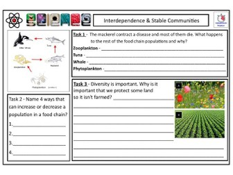 Interdependence CLF Lesson & Resources - Lesson 1 - KS2 KS3 KS4 Biology