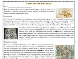 A Brief History of Marriage - Reading Comprehension Worksheet