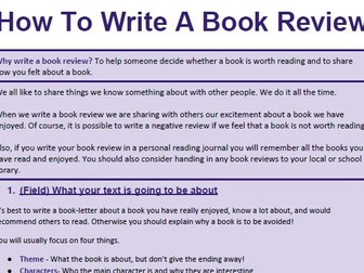 how to write a review of a book A book review describes, analyzes and evaluates the review conveys an opinion, supporting it with evidence from the book do you know how to write a book review i didn't and even though i knew i didn't, that didn't stop me from firmly inserting my foot in my mouth by agreeing to conduct a book.