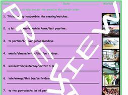 Word Order 3 Photo Worksheet Set