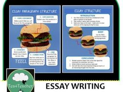 Essay Writing Structure Posters  Blue Burger Style Essay Structure  Essay Writing Structure Posters  Blue Burger Style Essay Structure For  Easy Display