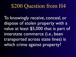 Jeopardy Law Game, Property Crimes, Criminal Law ~ Robbery Arson Theft Etc.