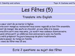 GCSE Vocabulary and Sentence Level Tasks  THEME 1 TOPICS 1 -4
