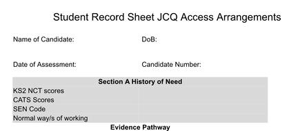 JCQ Exams Access Arrangements/ Reasonable Adjustments Student Record Portfolio Top Sheet