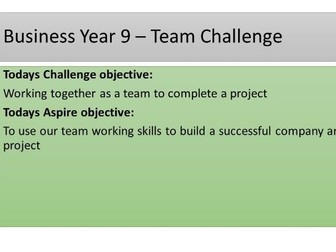 Simple Team Building Lesson - Ideal for new Business Students KS4