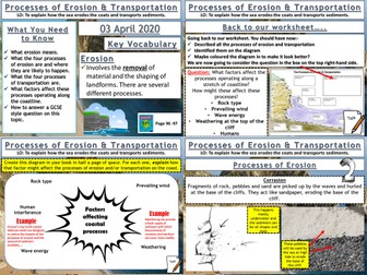 Coasts: Processes of Erosion and Transportation
