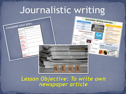English- Writing a newspaper article- Journalistic Writing KS2