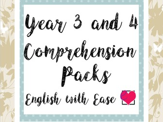 Year 3 and 4 Comprehension Pack
