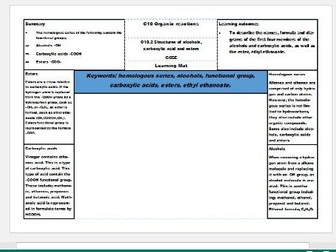 New AQA Science GCSE Chemistry Learning Mats – Organic reactions