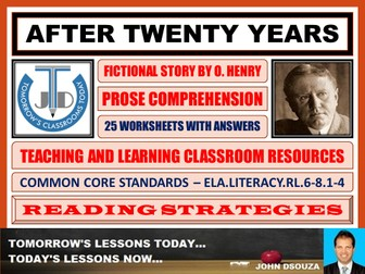 AFTER TWENTY YEARS BY O HENRY - STORY COMPREHENSION - TASKS AND EXERCISES