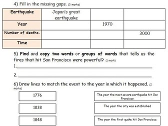 Earthquake comprehension KS2