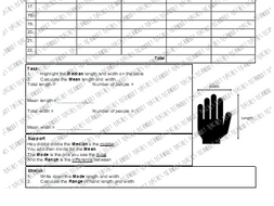 Anthropometric Data Task: Hand Sizes