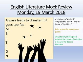 English Literature  Revision - Macbeth Mock Feedback