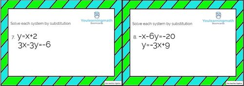 Solving Systems of Linear Equations by Substitution: GOOGLE SLIDES +  Printable Task Cards