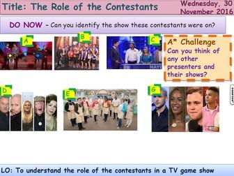 Media Representation 4 Contestants GCSE Media Studies UNIT 1 Media Exams TV Game Shows