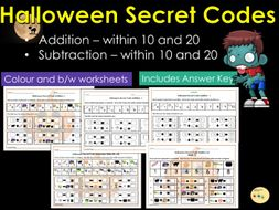 halloween addition and subtraction secret codes to  and then   halloween addition and subtraction secret codes to  and then  worksheets  with answers by romilli  teaching resources  tes