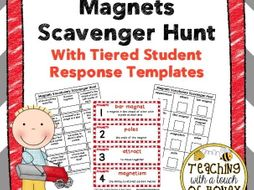 Magnets Vocabulary Scavenger Hunt With Tiered Student Response Templates