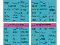 Present Simple Positive & Negative Statements Tic-Tac-Toe or Bingo Game