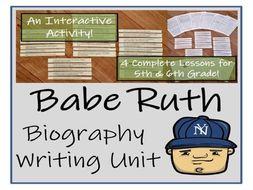 UKS2 History - Babe Ruth Biography Writing Activity