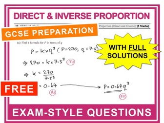 GCSE 9-1 Exam Question Practice (Direct + Inverse Proportion)
