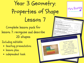 7. Geometry: recognise and describe 2D shapes lesson pack (Y3)