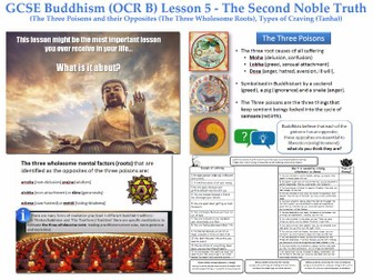 GCSE - Buddhism - Lesson 5  [Second Noble Truth, Types of Craving, Three Poisons] Complete Resource