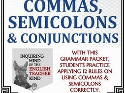 High School Grammar Packet Using Commas Conjunctions And