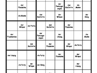 Word Sudoku to Learn German: Fasching