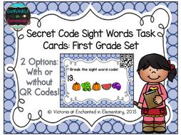 Secret Code Sight Words Task Cards: First Grade Set