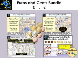 Euros and Cents Money  Presentations Worksheets Activities Bundle