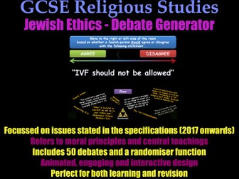 GCSE Judaism - Ethical Debate Generator [Jewish Morality, Revision, RE, RS, Exam Practice]