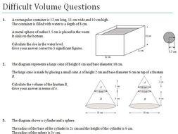 difficult volume gcse worksheet by ukmaths teaching resources. Black Bedroom Furniture Sets. Home Design Ideas