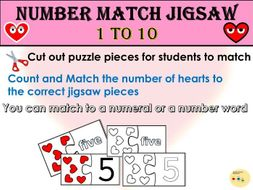 Jigsaw Two Piece Puzzle Number Match 1 to 10, Numbers, Counting - Valentine Hearts