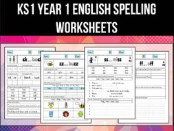 key stage 1 year 1 english spelling phonics worksheets pack of 59 by abteachingmaterials. Black Bedroom Furniture Sets. Home Design Ideas