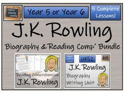 UKS2 Literacy - J.K. Rowling Reading Comprehension & Biography Bundle