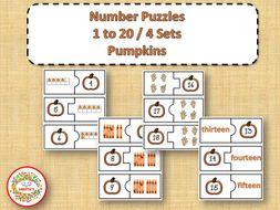 Number Puzzles 1 to 20 - Pumpkin Theme - 2 Pieces Per Puzzle
