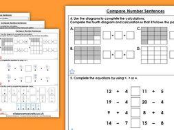 Year 2 Compare Number Sentences Autumn Block 2 Maths Homework Extension