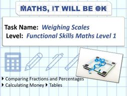 FS Maths Level 1 Weighing Scales Exam Style