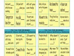 Reflexive and Reciprocal Pronouns Tic-Tac-Toe or Bingo