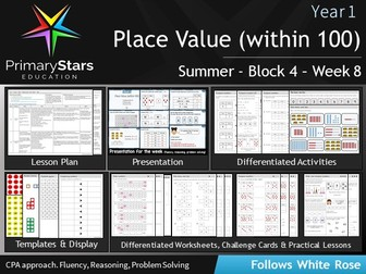 YEAR 1 - Place value within 100 - WEEK 8 - Block 4 - Summer- Differentiated Pack